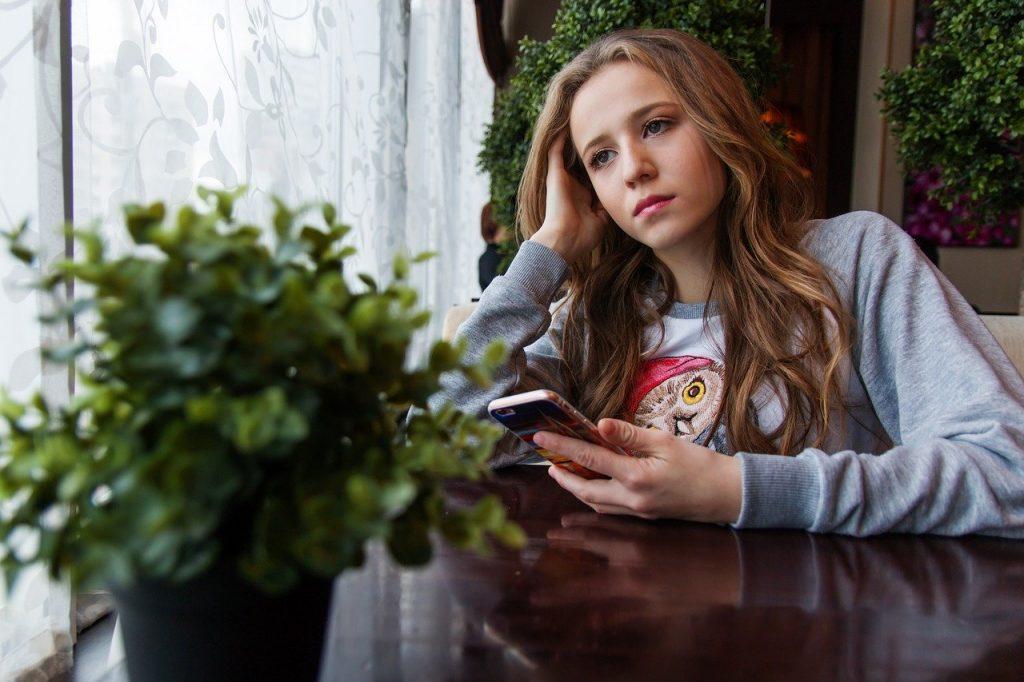 girl, teen, café